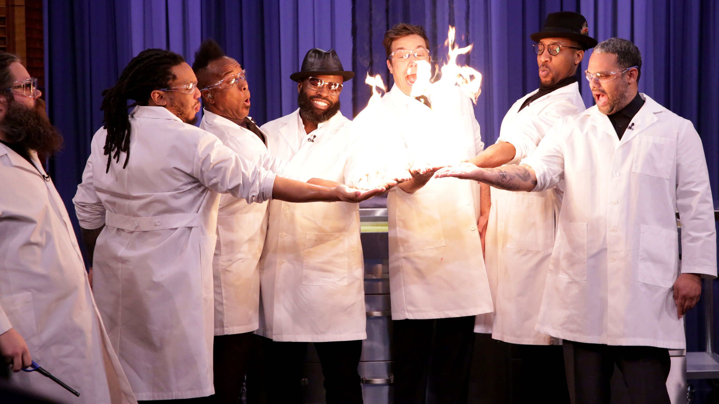 Science Expert Kevin Delaney Lights Jimmy Fallon and The Roots' Hands on Fire