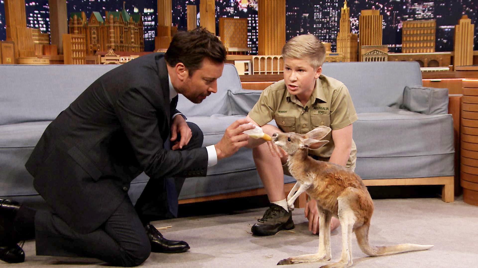 Robert Irwin and Jimmy Feed a Baby Kangaroo