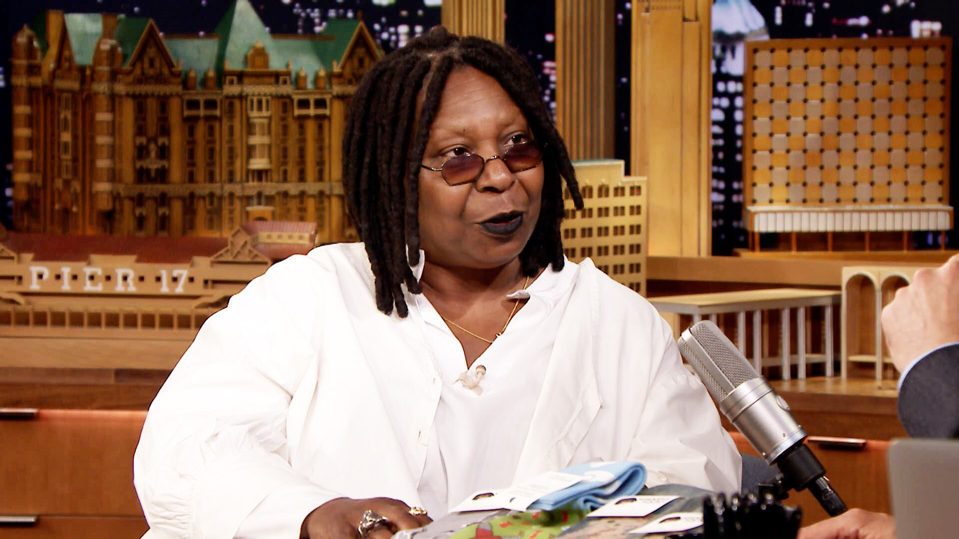 Whoopi Goldberg Has Socks with Her Face on Them