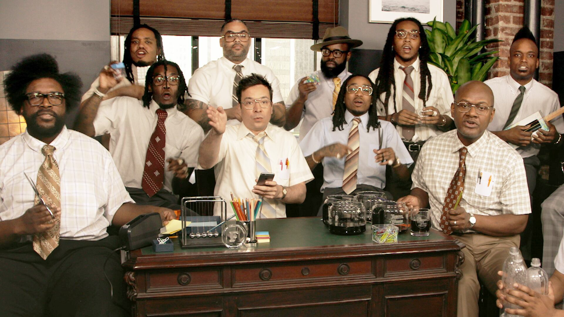 """Jimmy Fallon, Migos & The Roots Sing """"Bad and Boujee"""" (w/ Office Supplies)"""