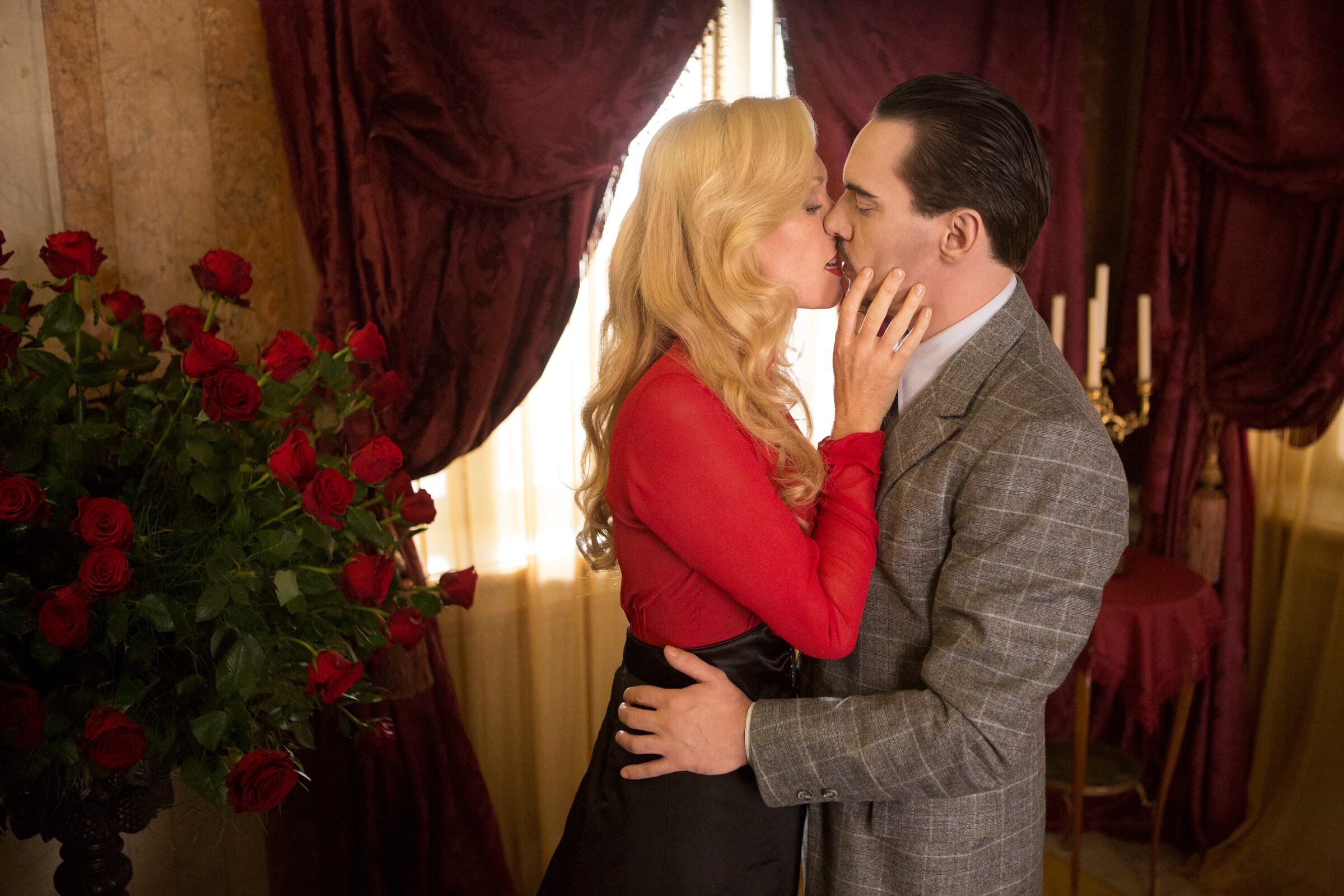Pictured: (l-r) Victoria Smurfit as Lady Jayne Wetherby, Jonathan Rhys Meyers as Alexander Grayson