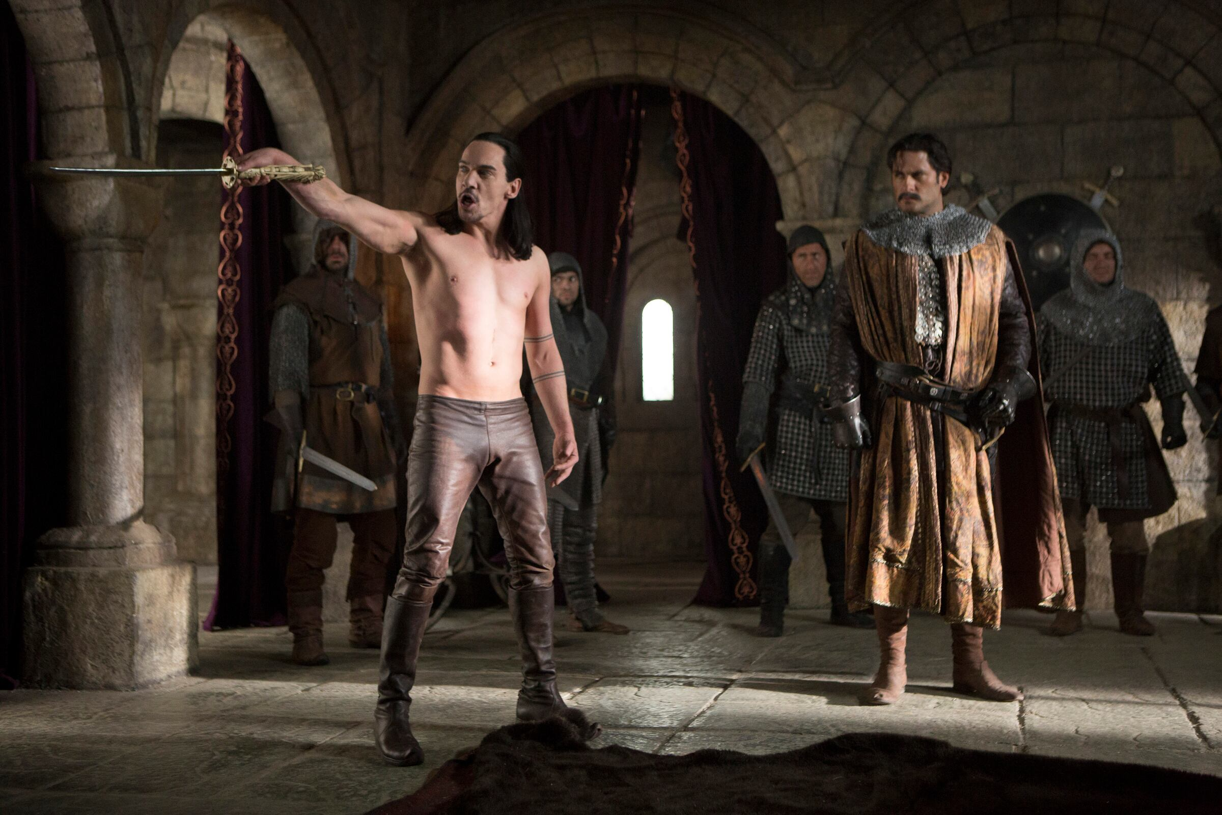 Pictured: (l-r) Jonathan Rhys Meyers as Vlad Tepes, Attila Arpa as Order Draco Leader -- (Photo by: David Lukacs/NBC)