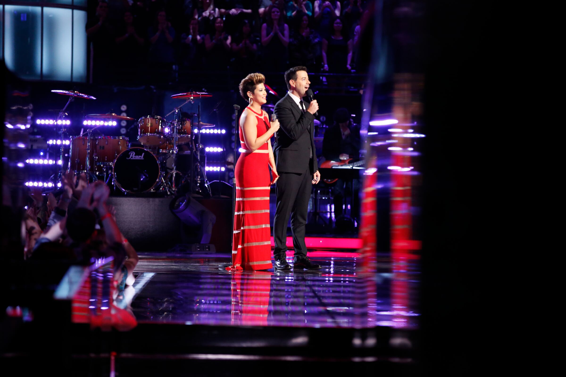 "THE VOICE -- ""Live Show BTS"" Episode 519A -- Pictured: (l-r) -- (Photo by: Ben Cohen/NBC)"