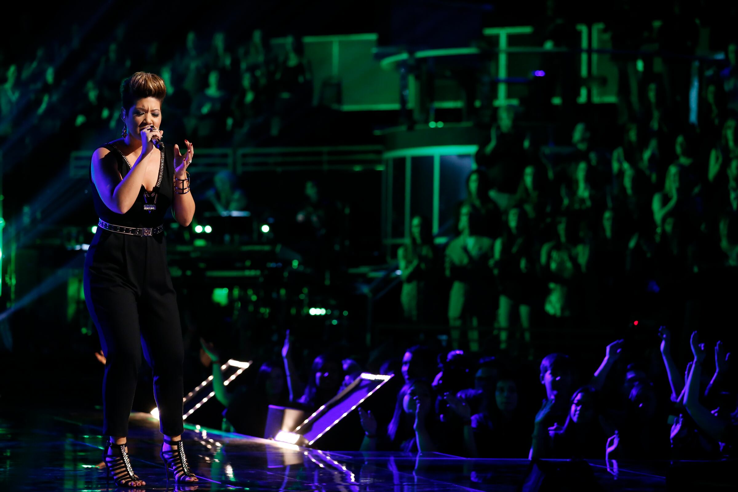 "THE VOICE -- ""Live Show"" Episode 519A -- Pictured: Tessanne Chin -- (Photo by: Trae Patton/NBC)"