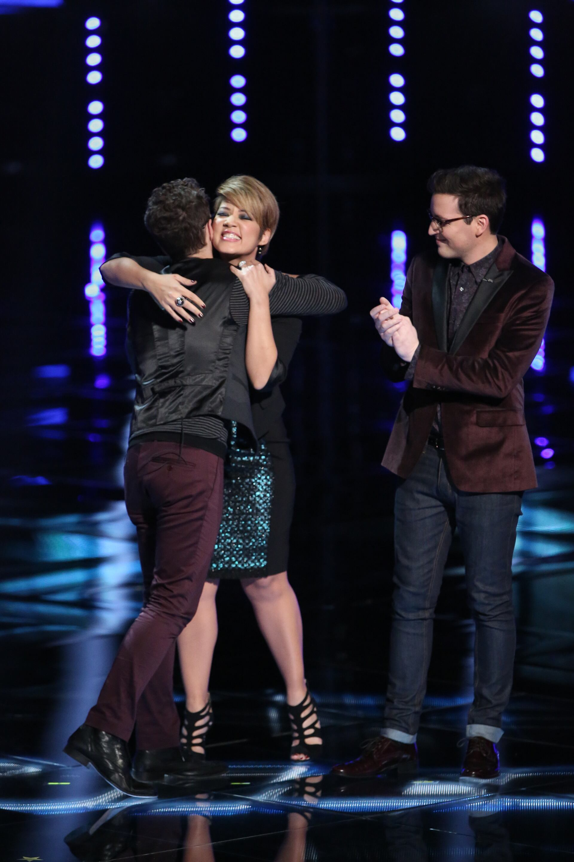 """THE VOICE -- """"Live Show"""" Episode 516B -- Pictured: (l-r) Will Champlin, Tessanne Chin, James Wolpert -- (Photo by: Tyler Golden/NBC)"""