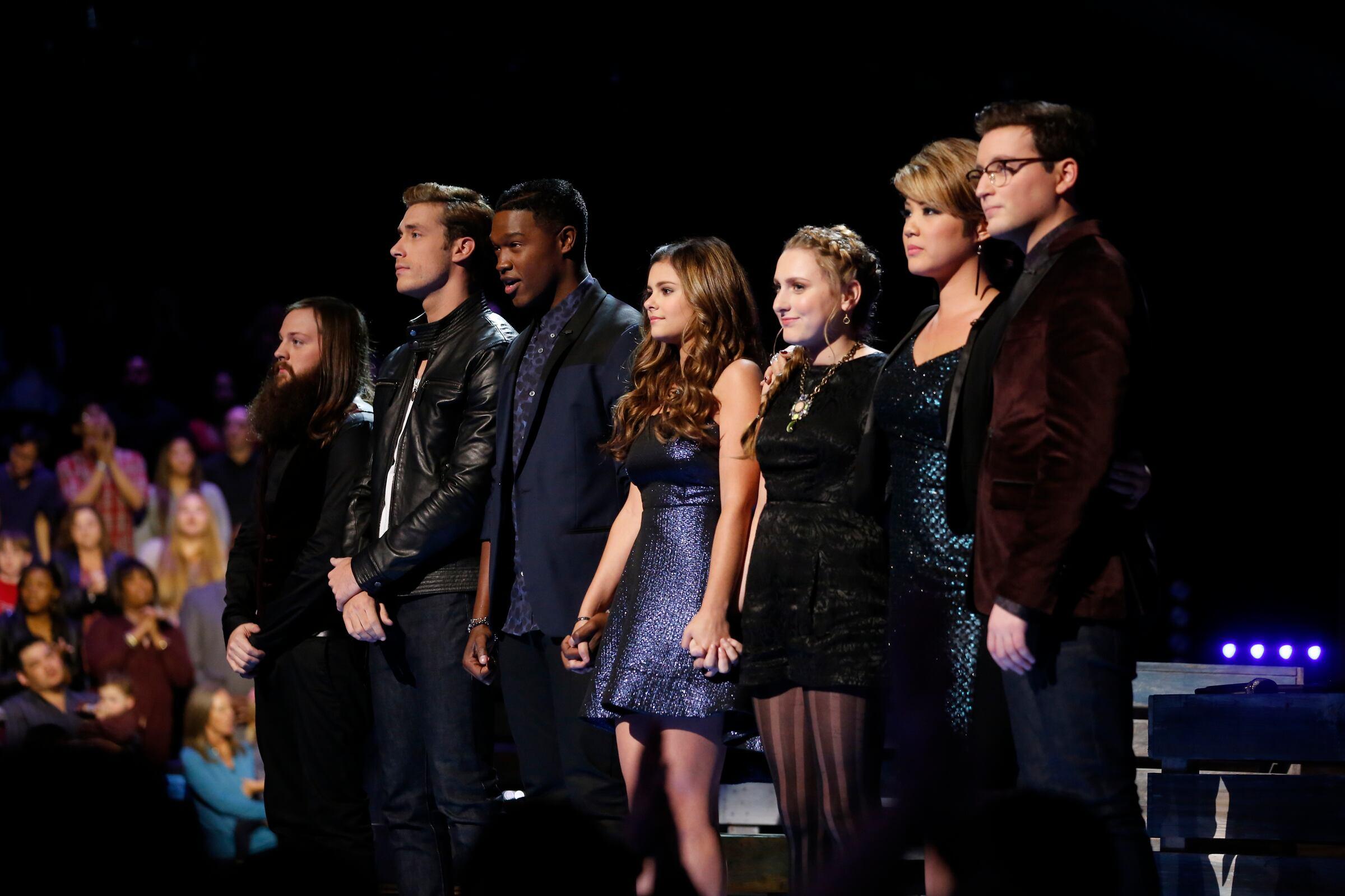 "THE VOICE -- ""Live Show"" Episode 516B -- Pictured: (l-r) Cole Vosbury, Ray Boudreaux, Matthew Schuler, Jacquie Lee, Caroline Pennell, Tessanne Chin, James Wolpert -- (Photo by: Trae Patton/NBC)"