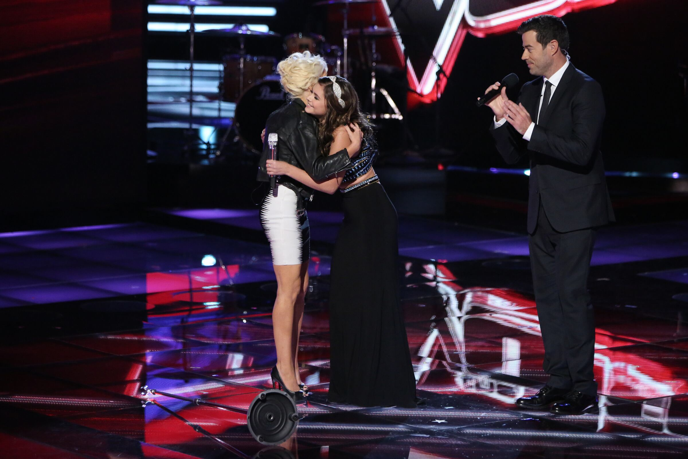 """Her performance of """"Cry Baby"""" brought her coach, to whom she'd grown close, onstage for a post-performance hug."""