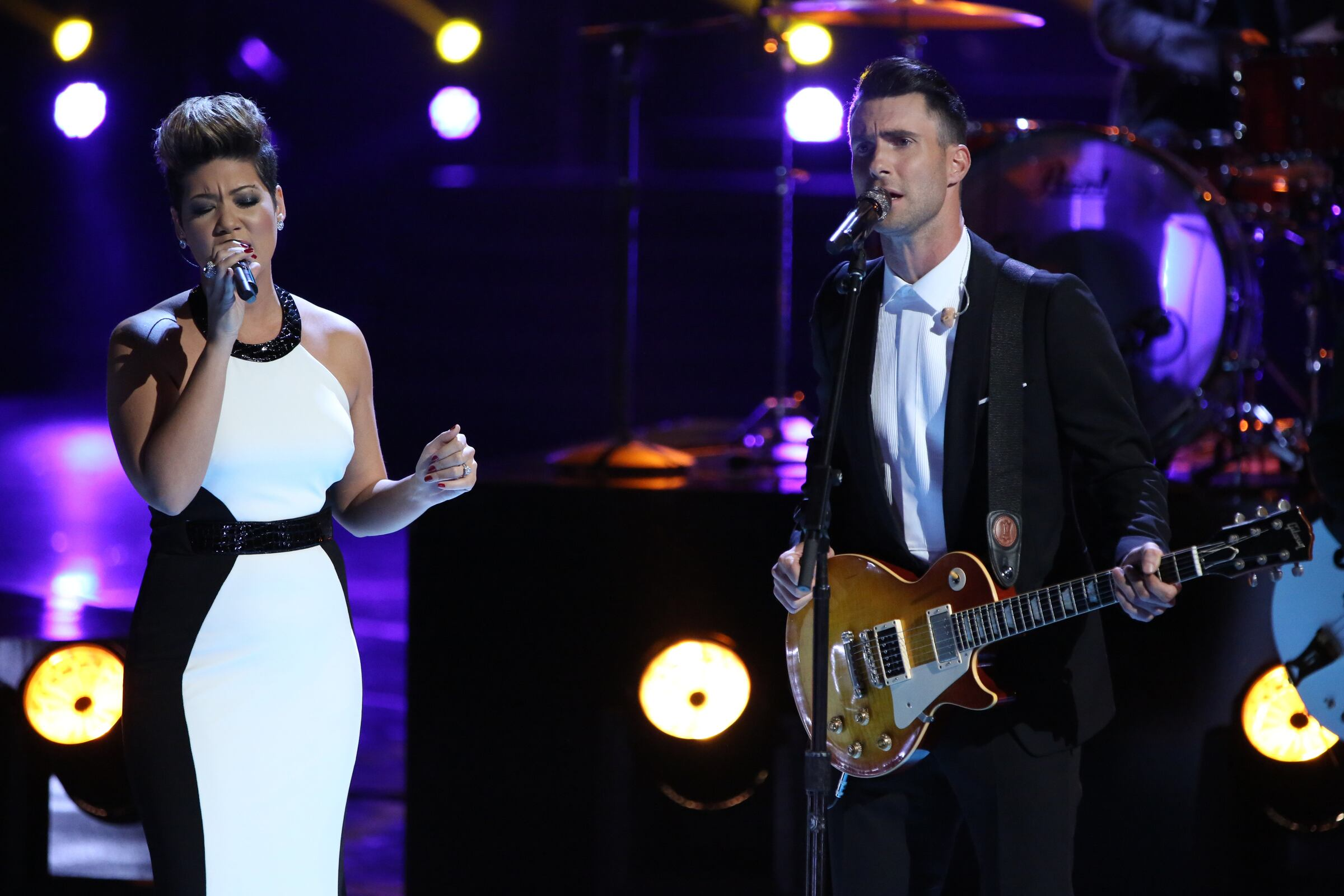 """Then Tessanne and her coach Adam Levine sang a moving duet of The Beatles' classic """"Let It Be."""""""