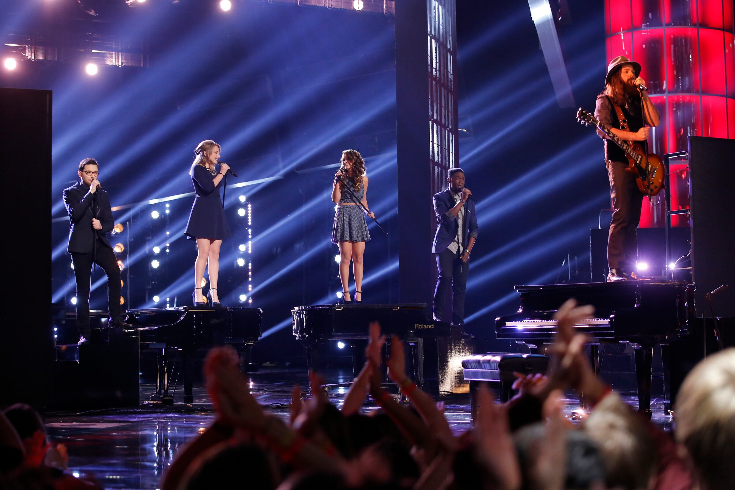 """Returning Tuesday night to learn the results, Jacquie first brought back her fellow contestants Caroline, Matthew and Cole for a rousing take on Queen's """"Bohemian Rhapsody"""" and joined the Top 20 on Outasight's hit """"Tonight Is the Night."""""""