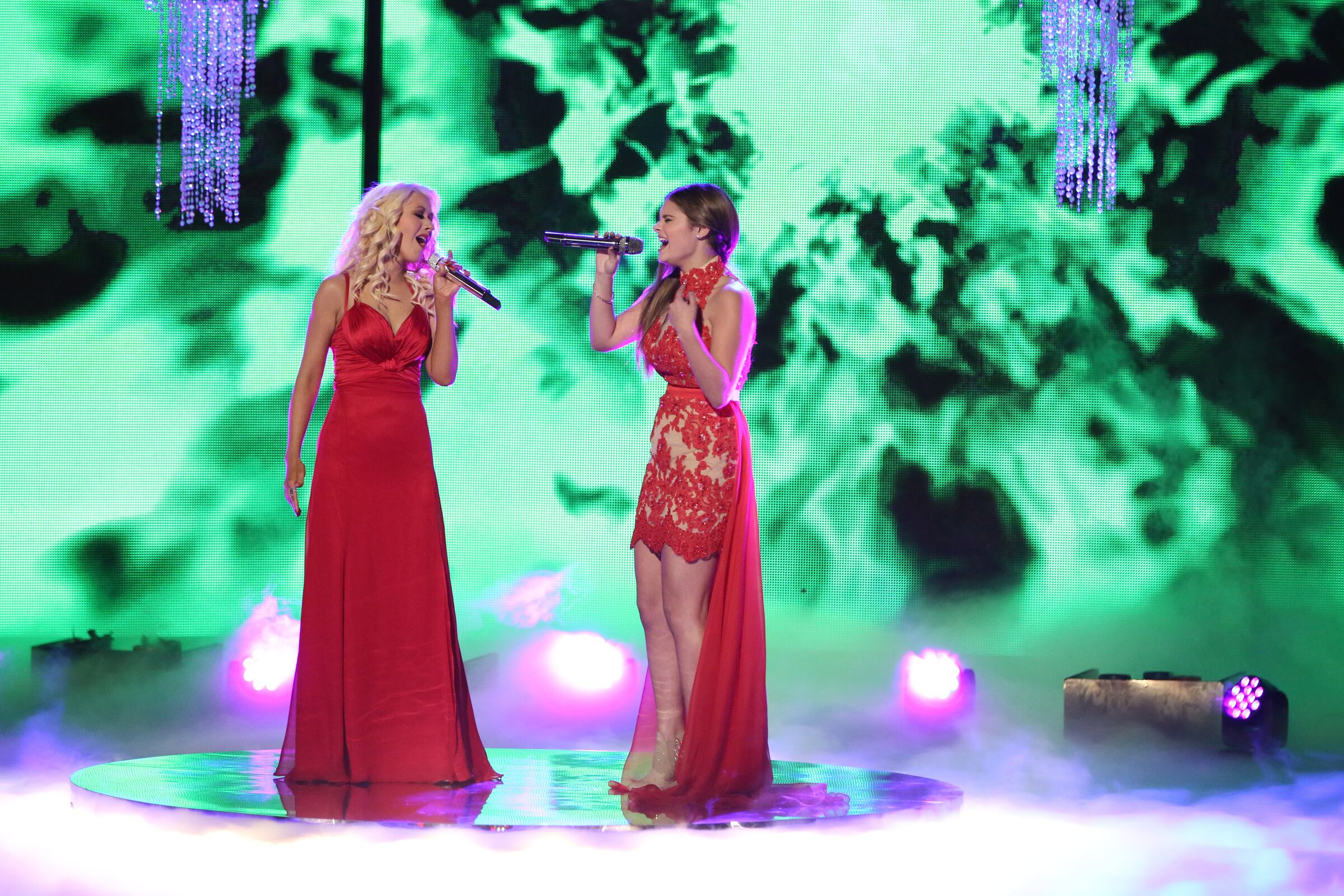 "THE VOICE -- ""Live Show"" Episode 519A -- Pictured: (l-r) Christina Aguilera, Jacquie Lee -- (Photo by: Tyler Golden/NBC)"