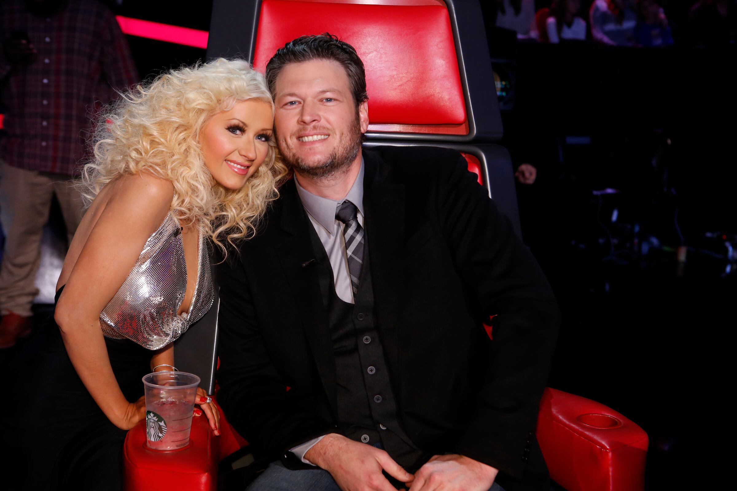 "THE VOICE -- ""Live Finale"" Episode 519B -- Pictured: (l-r) Christina Aguilera, Blake Shelton -- (Photo by: Trae Patton/NBC)"