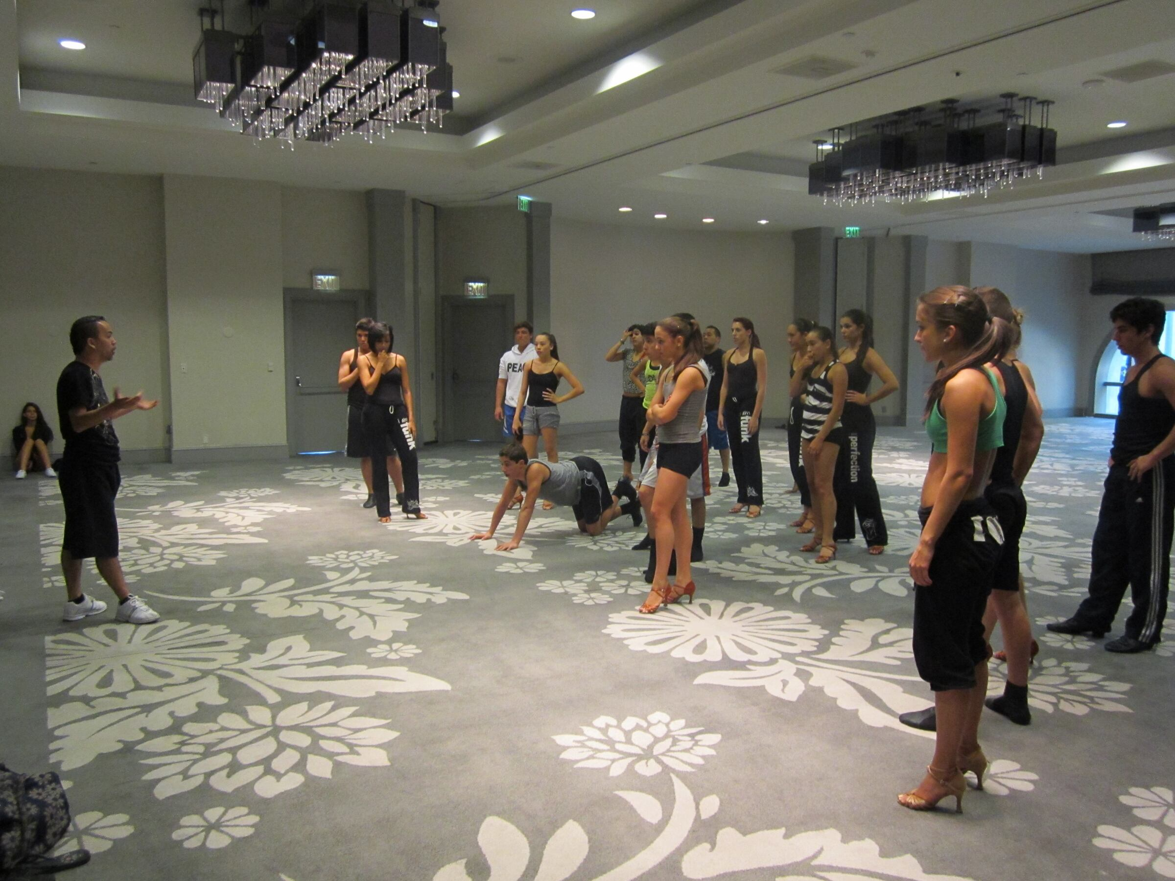 Manny giving us a good pep talk before our training/rehearsal