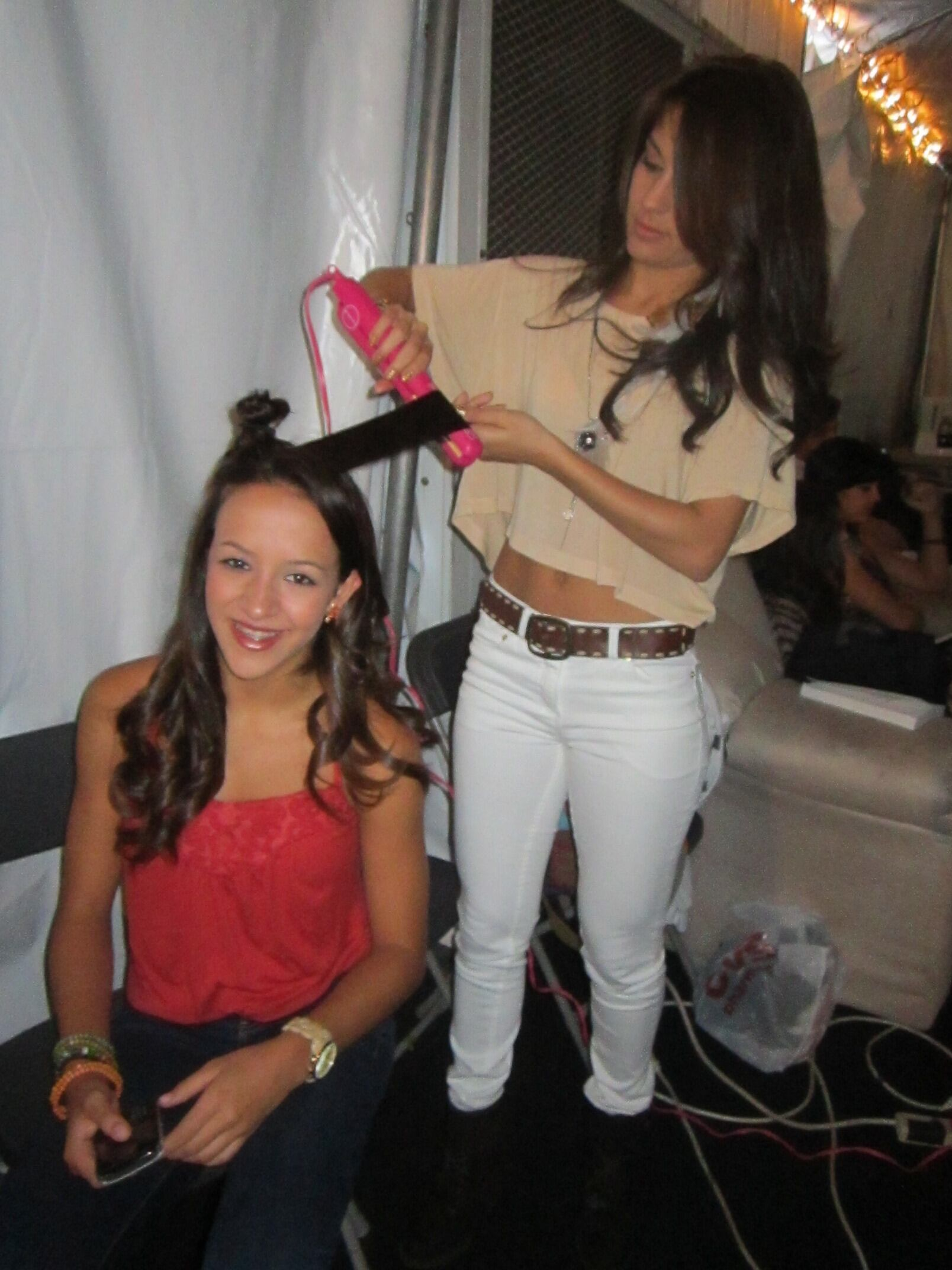 Anmaree Helping Hannah With Her Hair