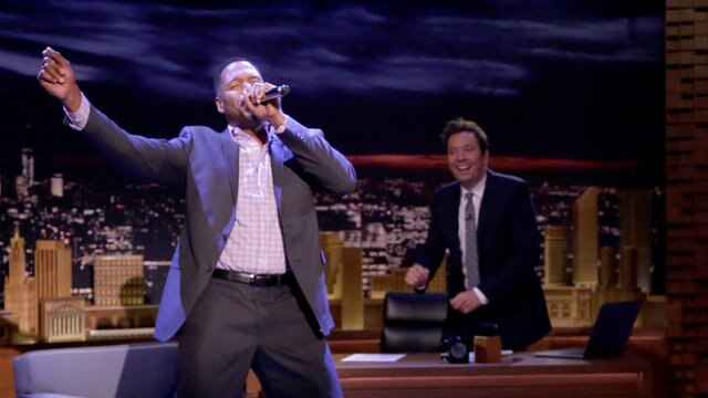 "Michael Strahan Performs New Edition's ""Can You Stand the Rain"""