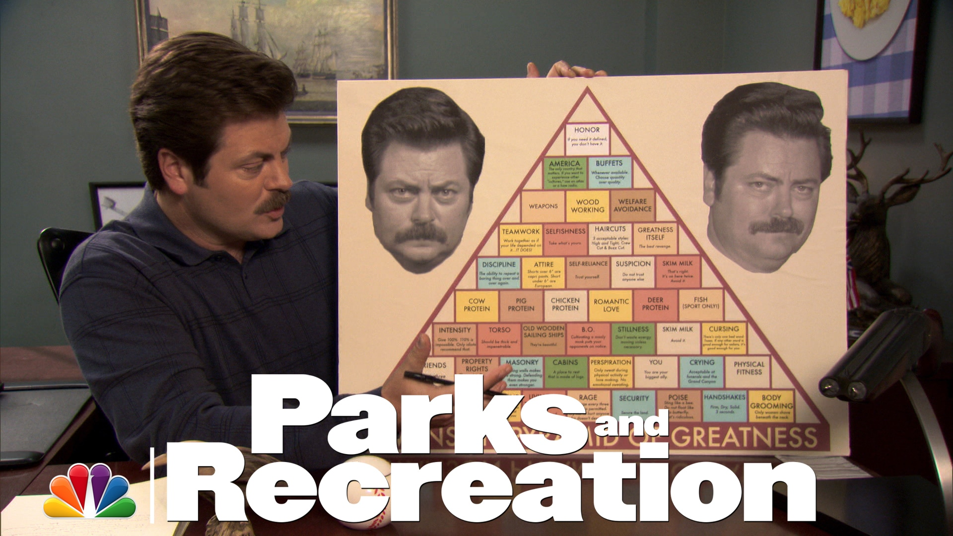 Watch Parks And Recreation Highlight Ron Swanson S Pyramid Of